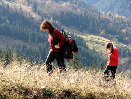 Ascent. Family walk in the Carpathian mountains. Rapid ascent