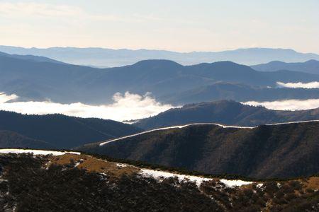 Ridge A chain of mountains. Birds-eye view. Mountainous landscape. Stock Photo