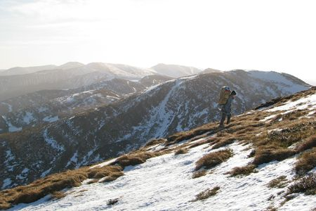 Ranger. Lonely ascent on the mount. Autumnal hike in the Carpathian mountains. Stock Photo