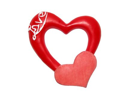 Valentine card. Symbol of Valentine's day. Two red hearts on the white background.