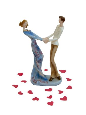 Dancing pair. Dancing lover couple in the Valentine's day. Graceful porcelain statuette.