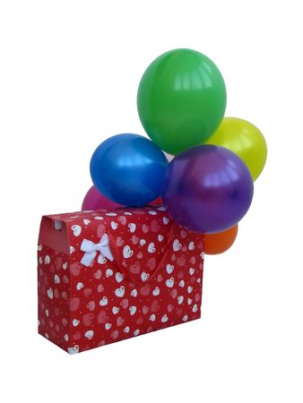 Gift set. Present box with colors air-ball. Holiday surprise.