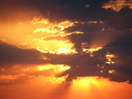 cloud drift: Afterglow. Cloudy sunset in the sky. Cloud-drift in the evening. Stock Photo