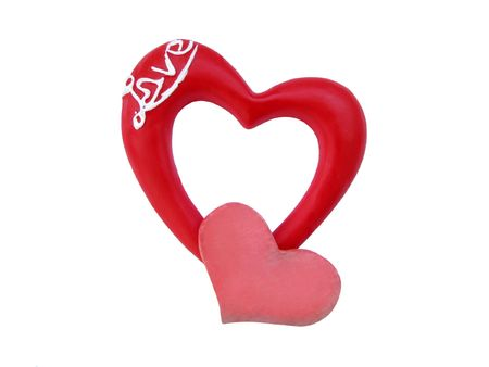 Lover hearts. Symbol of Valentine�s day. Two red hearts on the white background. Stock Photo