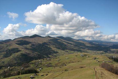 Carpathian's landscape. Mountainous village. Rural view in the Carpathian Mountains.