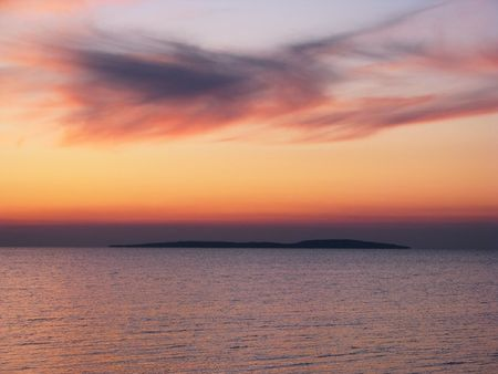 afterglow: Afterglow. Evening calm on the Sea of Azov. Bright afterglow. Stock Photo