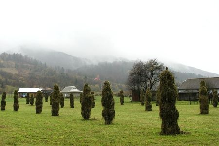 Farmyard. Dry off hay in the mountainous village. Rural view in the East Carpathian Mts. Stock Photo