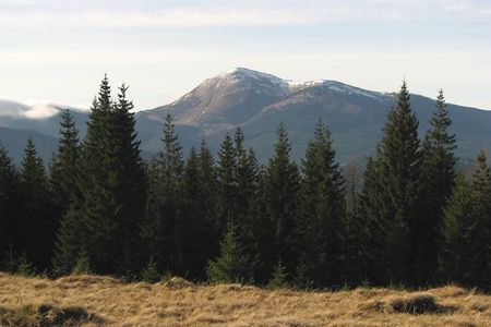Mountainous summit. Mount Petros in the East Carpathian Mts. Mountainous landscape in the autumn.