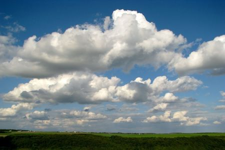 Cloud-drift.North wind in the summer day. Skyscape.