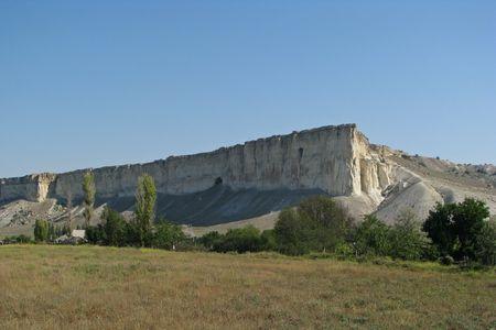 Mount Ak-Kaia.Mount  Ak-Kaia (White Cliff) in the Crimea's steppe