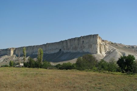 Mount Ak-Kaia.Mount  Ak-Kaia (White Cliff) in the Crimea�s steppe Stock Photo - 6444569
