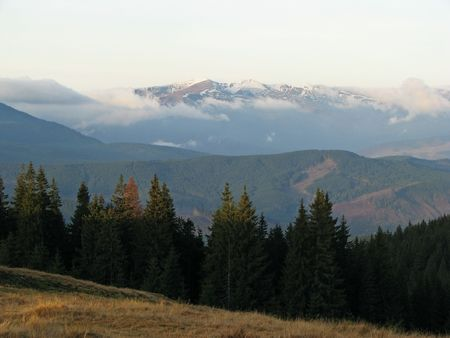 Early in the mountains. Morning in the East Carpathian Mts. Mountainous landscape in the autumn. Stock Photo