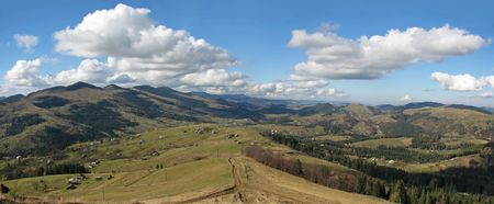 Carpathian's panorama. Mountainous village. Rural landscape in the Carpathian Mountains.