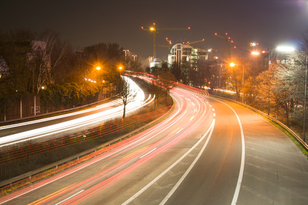 Take the B7 towards Seestern (Duesseldorf) in long-term exposure Stock Photo