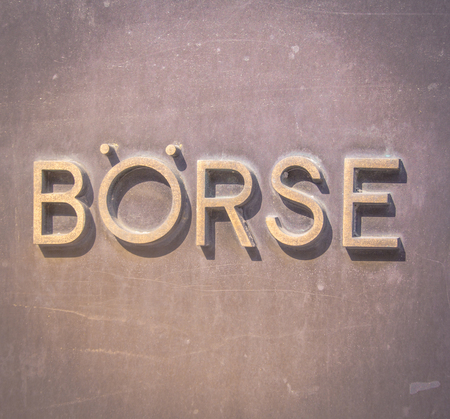 nyse: The metal sign at the entrance of the old frankfurt stock exchange Stock Photo