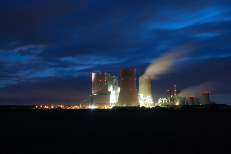 Power station near Grevenbroich at night in long exposure