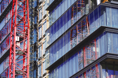 mirror image: Construction site of an office building Stock Photo