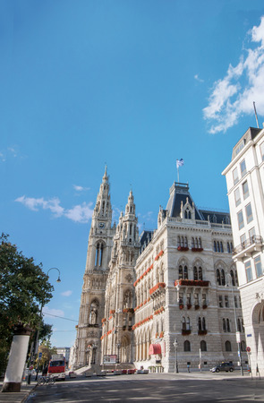 innere: Low angle view of City Hall at Rathausplatz in Innere Stadt district at Vienna, Austria Stock Photo