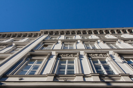 Facade of an old building in the city center of Budapest, Hungary