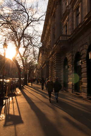 Evening walk at sunset on the Andrássy ?? Tca street in Budapest, the capital of Hungary, Europe