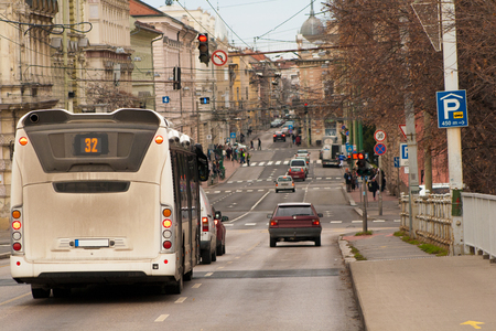 Scene in the daily traffic in Szeged, a beautiful city in southern Europe, Hungary Editorial