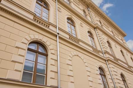 Renovated facade of a historic old building in Szeged, in the south of Hungary, Europe