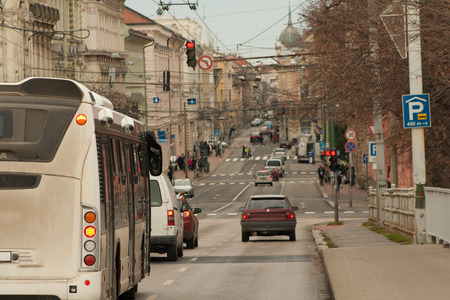 Scene in the daily traffic in Szeged, a beautiful city in southern Europe, Hungary Banco de Imagens