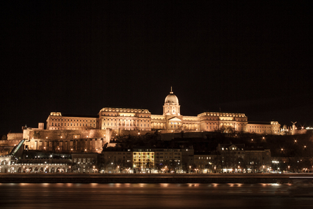 The castle palace on the castle hill in Budapest, the capital of Hungary in Europe Editorial