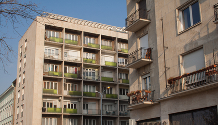 Apartment buildings with green balconies in Budapest, capital of Hungary in Europe