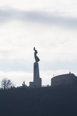 The Statue of Liberty at dusk in Buda, the western Danube side in Budapest, the capital of Hungary Banco de Imagens