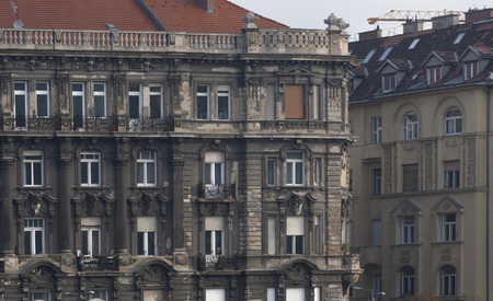 House in need of renovation. Apartment building in Budapest, the capital of Hungary