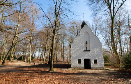 The Irmgardiskapelle, a small white church in the forest at Viersen-S?chteln in Germany