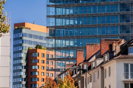 Many different buildings in the Medienhafen Dusseldorf: Old buildings, modern buildings, residential buildings and office buildings