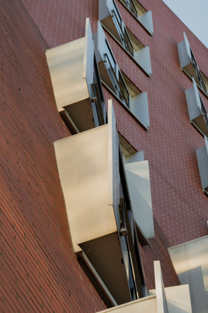 Modern residential building in Dusseldorf with brick wall Banco de Imagens - 110038462