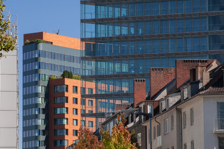 Many building generations in the city center of Duesseldorf, Germany