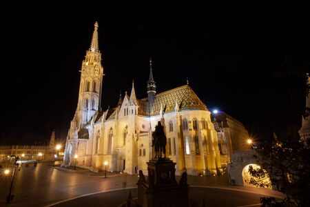 The Matthias Church (Matyas Templom) in Budapest, Hungary on the castle hill next to the Fisherman's Bastion Banco de Imagens