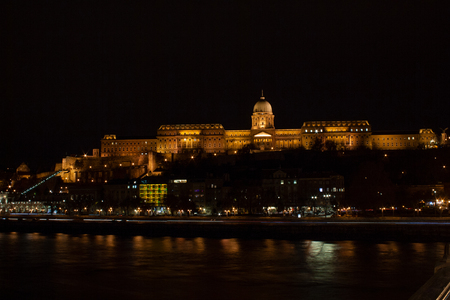 The illuminated castle palace on the castle hill in Budapest, the capital of Hungary, Eastern Europe Editorial