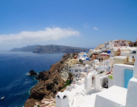 thera: Houses on the hillside in the the Greek island of Santorini Stock Photo
