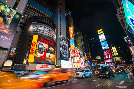 action blur: Times Square, New York City at night