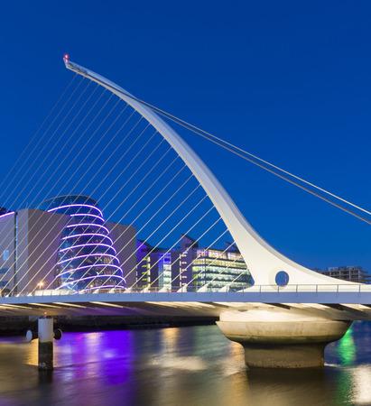 cable bridge: The Samuel Beckett Bridge in Dublin, Ireland Stock Photo