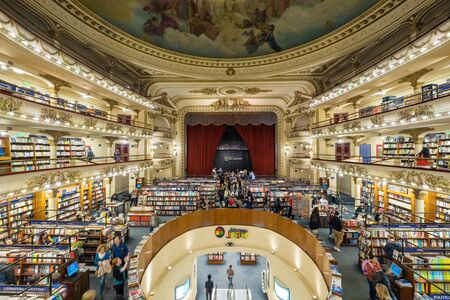 BUENOS AIRES, ARGENTINA, - APRIL, 22, 2019: El Ateneo Grand Splendid, a 100-year old theatre that has been converted into a bookshop in Buenos Aires, Argentina. Editorial