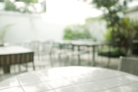 Blur Urban life scene.blur Coffee table in backyard