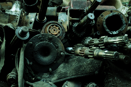 Old car engine partfor recycle the old car engine, engine junkyard. Stock Photo