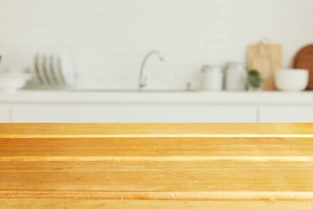 wood table top on blur kitchen window background, panoramic banner