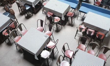 Empty tables in street cafe. bar bistro restaurants Toned photo
