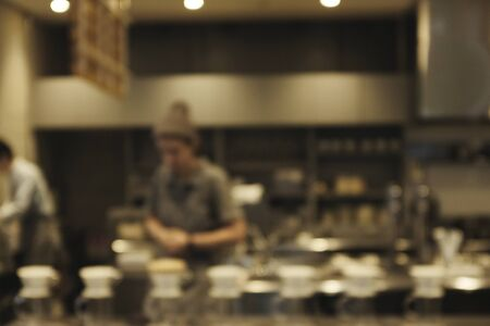 blur of barista and people in coffee shop or (cafe,restaurant )background.For montage  design key visual layout 写真素材