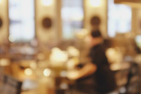 Background blurred couter coffee bar cafe, cafe blurred background with bokeh