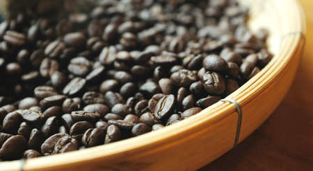 Coffee beans background. Background of roasted coffee beans.