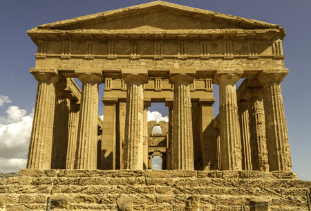 Front of massive greek temple in the valley of temples Agrigento, Italy Reklamní fotografie