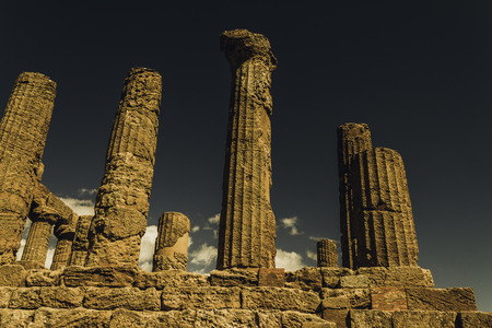 Columns of the temple of Hercules, in Agrigento, Italy